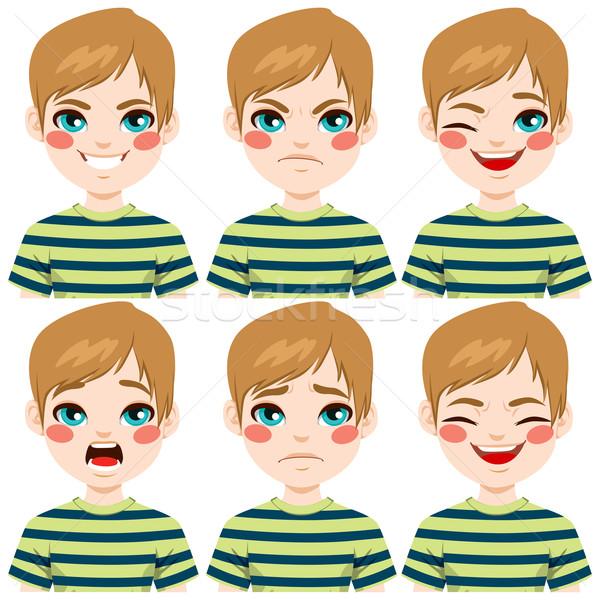 Tizenéves fiú arc kifejezések készít hat különböző Stock fotó © Kakigori