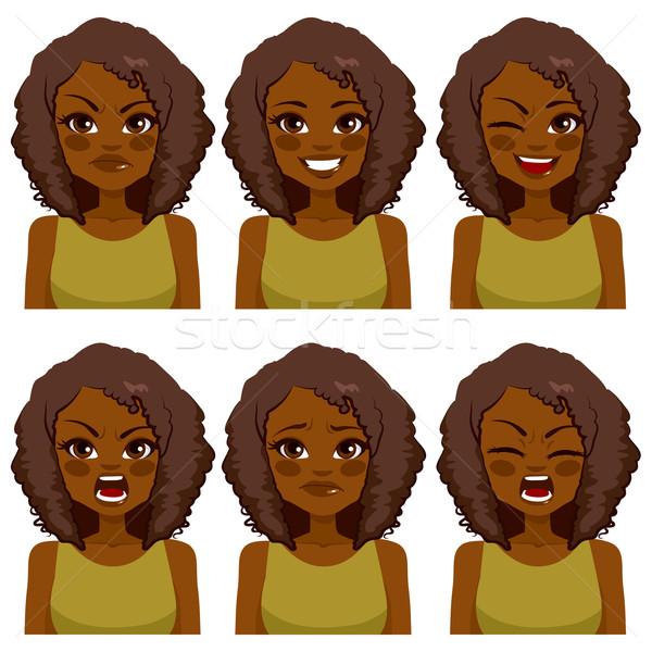 Avatar nő kifejezések gyönyörű afroamerikai afro Stock fotó © Kakigori