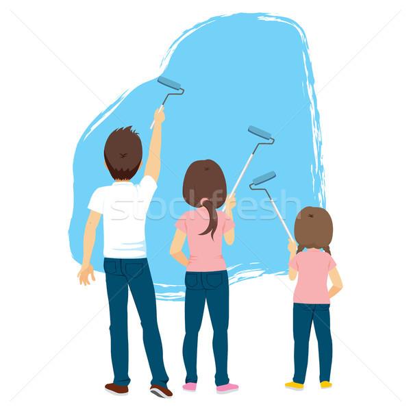 Family Painting Blue Wall Stock photo © Kakigori