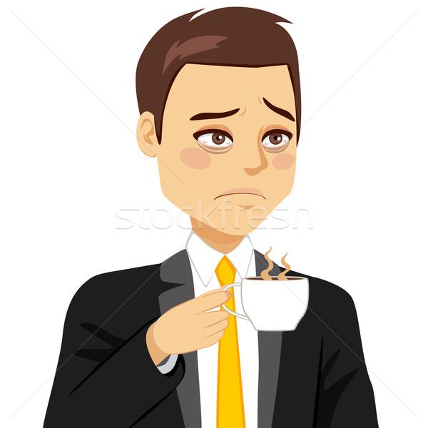 бизнесмен сонный питьевой кофе устал посмотреть Сток-фото © Kakigori