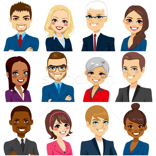 üzletemberek avatar szett gyűjtemény munkások csapat Stock fotó © Kakigori
