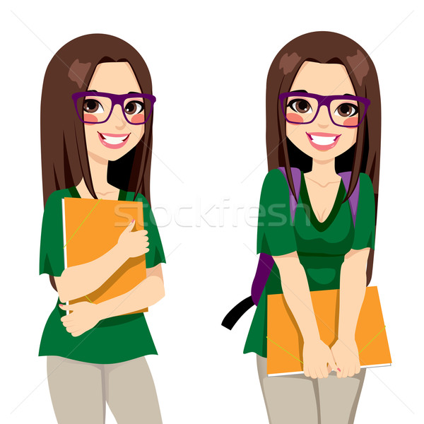 Stock photo: Cute Nerdy Girl Student