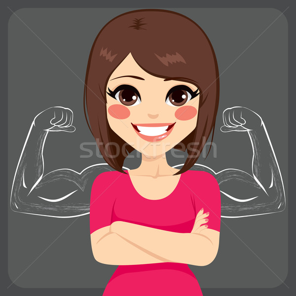Strong Muscle Sketched Woman Stock photo © Kakigori
