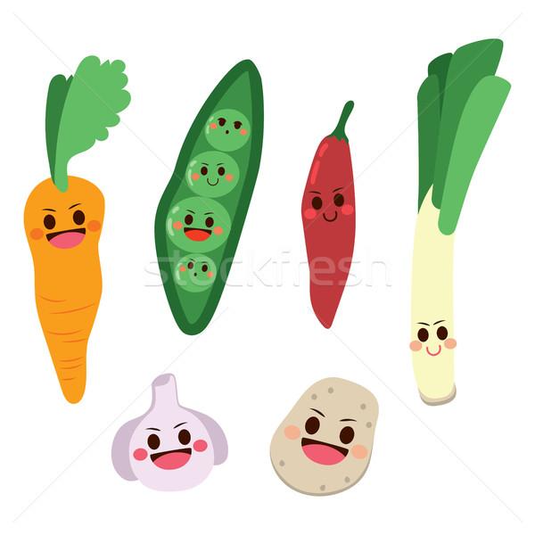 Foto d'archivio: Cute · vegetali · set · felice · bambini