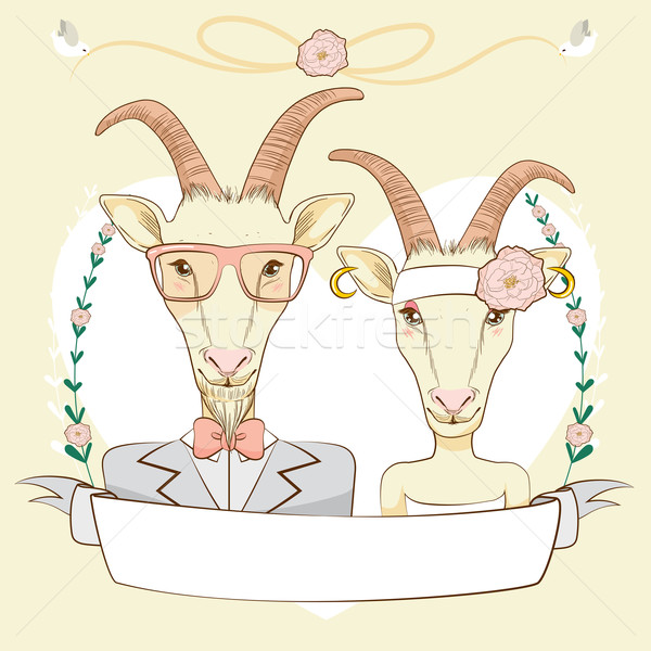 Hipster Goat Save The Date  Stock photo © Kakigori