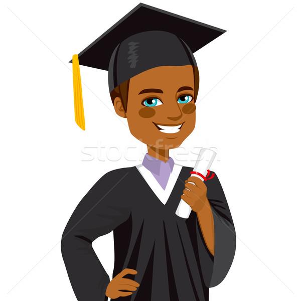 Stock fotó: Afroamerikai · érettségi · fiú · diák · mosolyog · nap