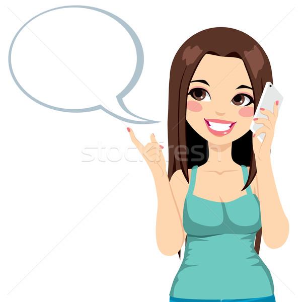 Lány mobiltelefon párbeszéd fiatal lány okostelefon szövegbuborék Stock fotó © Kakigori