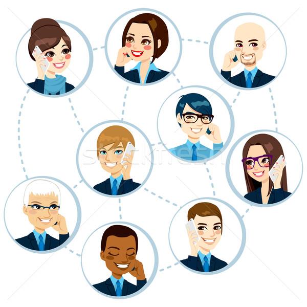 Business network pojęcia ilustracja około świat Zdjęcia stock © Kakigori