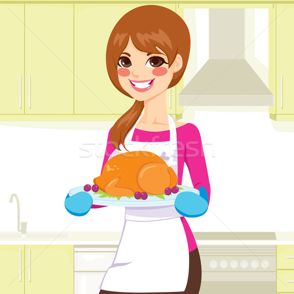 Woman Cooking Thanksgiving Turkey Stock photo © Kakigori