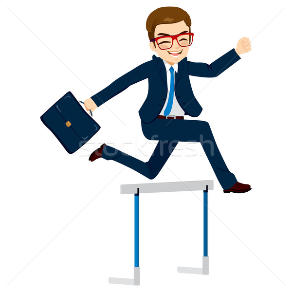 Businessman Jumping Hurdle Stock photo © Kakigori