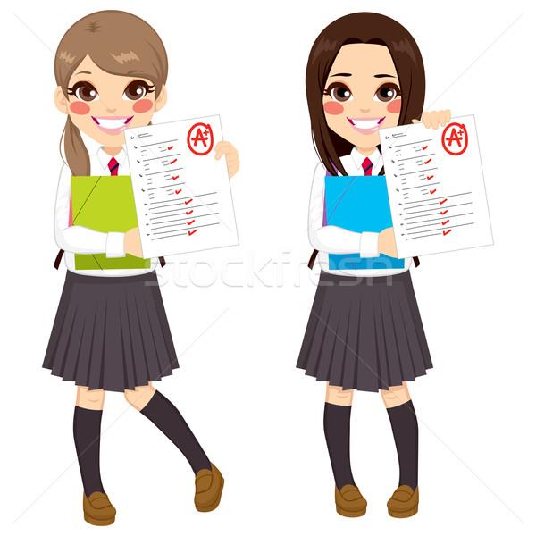 Diák lányok teszteredmények fiatal mutat vizsga Stock fotó © Kakigori