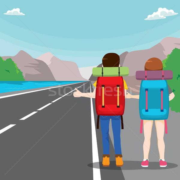 Hitchhiking Travel Couple Stock photo © Kakigori