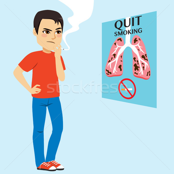 Smoking Man Looking Poster Stock photo © Kakigori