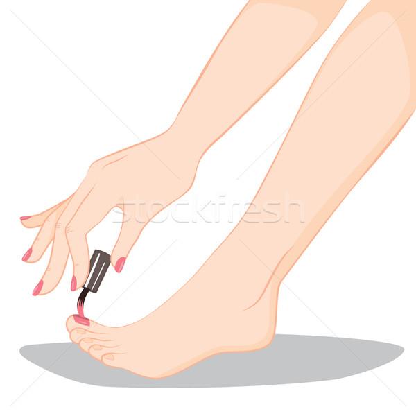 педикюр ногтя Живопись иллюстрация процесс Сток-фото © Kakigori
