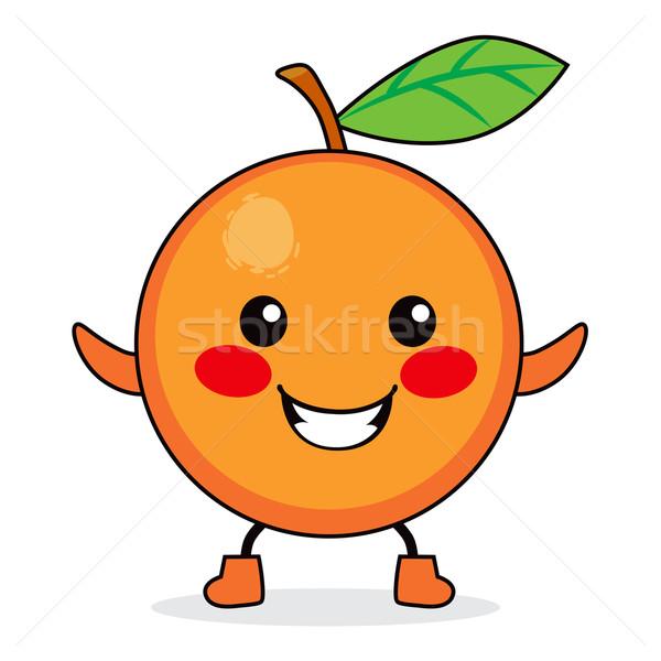 Oranje vruchten cartoon cute glimlachend gelukkig Stockfoto © Kakigori