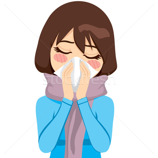 Brunette Runny Nose Stock photo © Kakigori