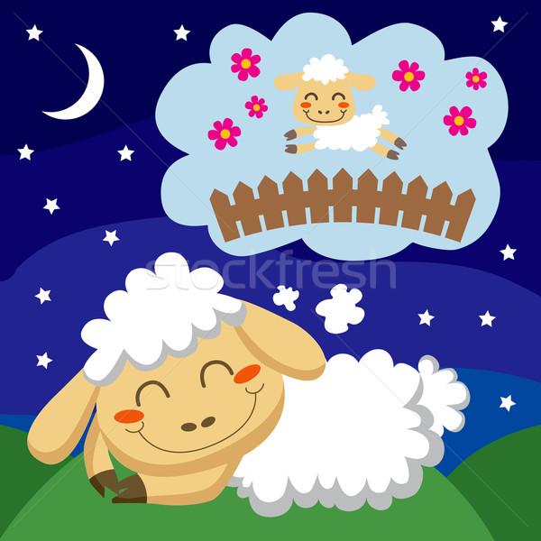 ストックフォト: 羊 · 白 · ジャンプ · フェンス · 草 · 幸せ