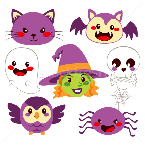 Halloween communie collectie cute grappig ontwerp Stockfoto © Kakigori