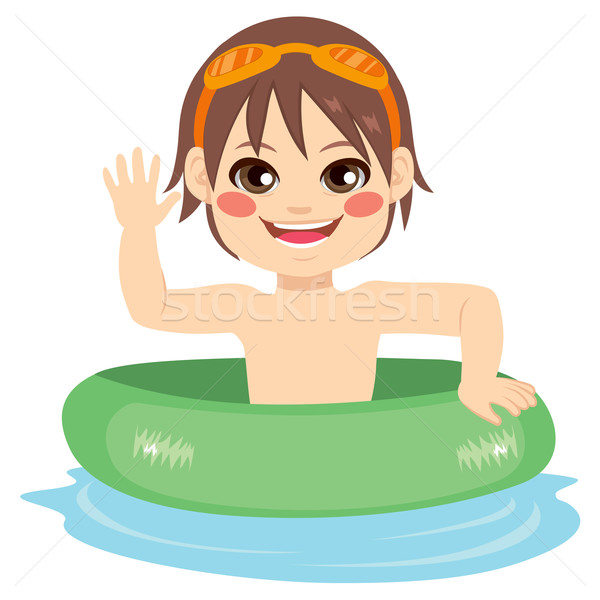 Stock photo: Little Boy Inflatable Ring