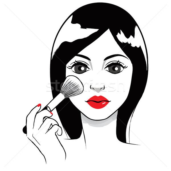 Nő jelentkezik bőrpír gyönyörű fiatal nő arc Stock fotó © Kakigori