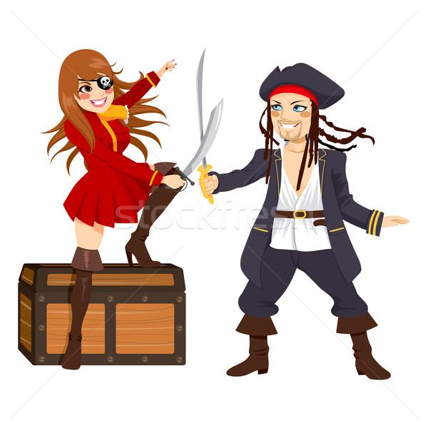Trotzen Piraten kämpfen Schatz zwei ein Stock foto © Kakigori