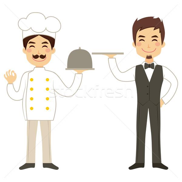 Chef And Waiter Holding Tray Stock photo © Kakigori