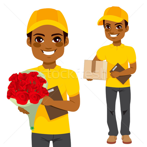 Courier Man Flower And Parcel Stock photo © Kakigori