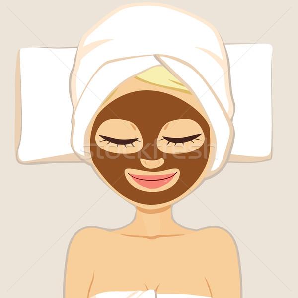 Beauté chocolat masque femme visage traitement de la peau Photo stock © Kakigori