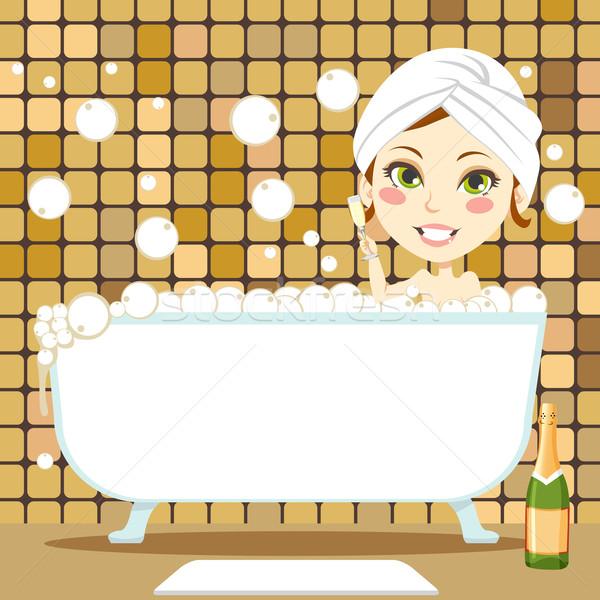 リラックス 泡風呂 かわいい ブルネット 女性 白 ストックフォト © Kakigori