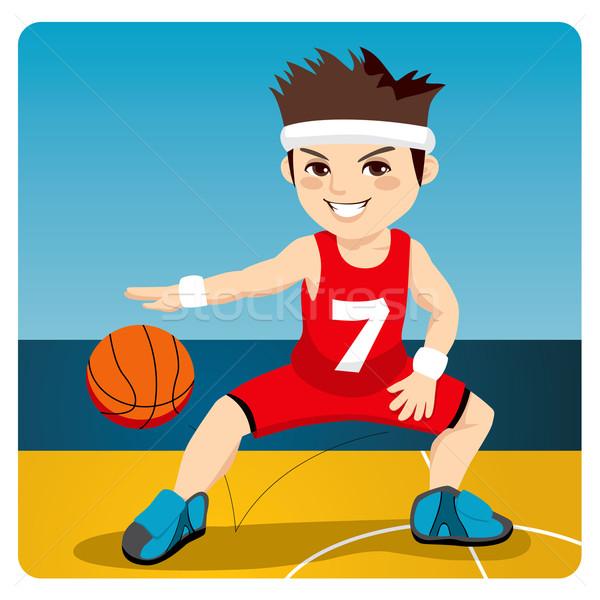 Aktív kosárlabdázó fiatal férfi labda bíróság Stock fotó © Kakigori