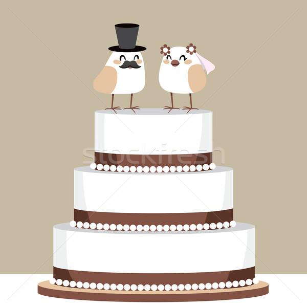 Madarak szeretet esküvői torta gyönyörű klasszikus pár Stock fotó © Kakigori