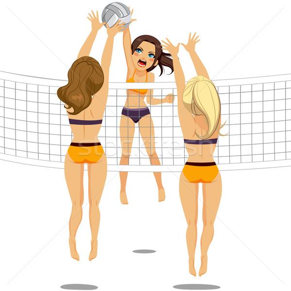 Volleybal speler vrouw aanval actief springen Stockfoto © Kakigori