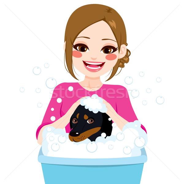 профессиональных ПЭТ молодые стиральные такса собака Сток-фото © Kakigori
