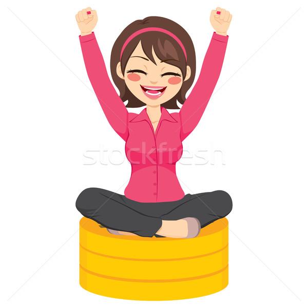 Zakenvrouw vergadering munten mooie jonge gelukkig Stockfoto © Kakigori