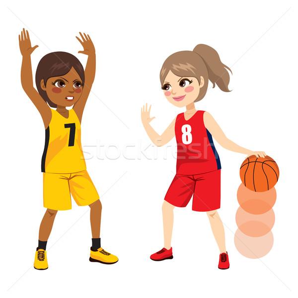 Baloncesto partido dos jóvenes femenino ninas Foto stock © Kakigori