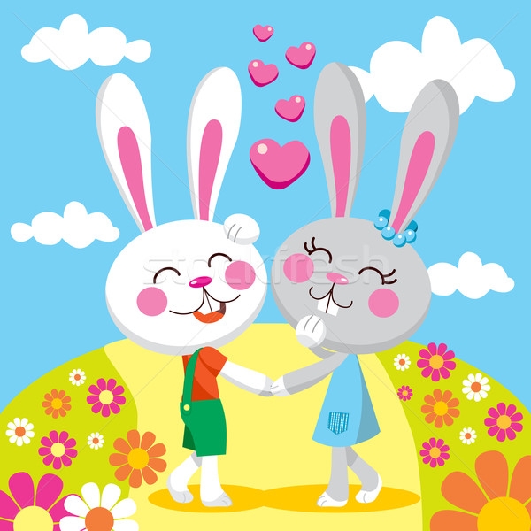 Lapin date sweet couple mains tenant souriant Photo stock © Kakigori
