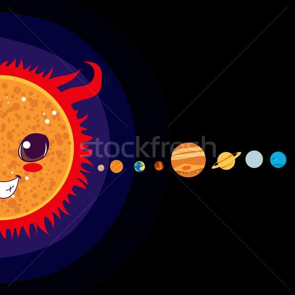 Naprendszer nap rajz bolygók mosoly boldog Stock fotó © Kakigori