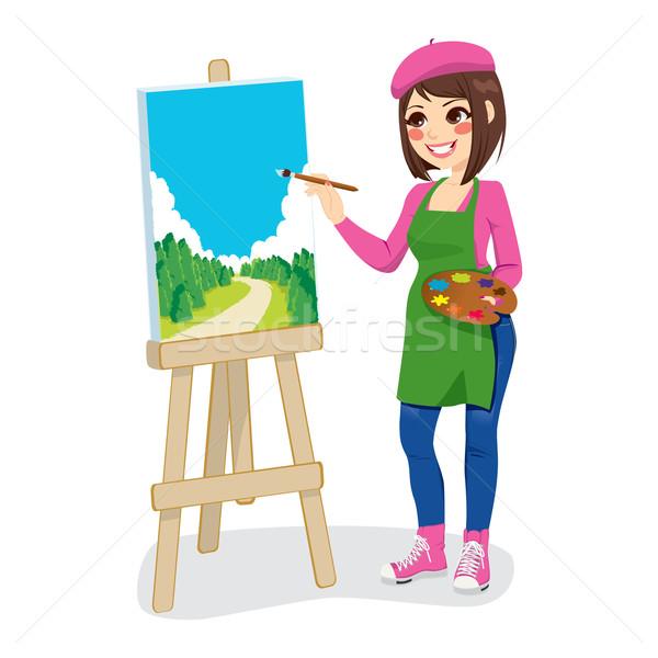Sanatçı Boyama Park Güzel Kadın Yeşil Vektör