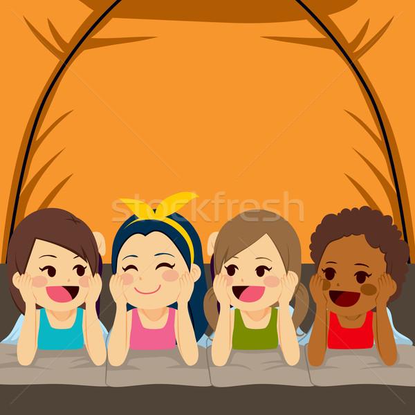 Friends Camping Inside Tent Stock photo © Kakigori
