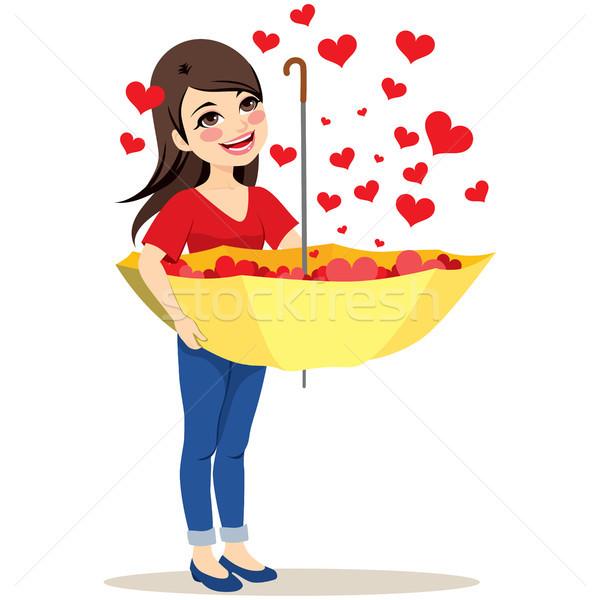 Corações guarda-chuva belo mulher jovem queda vermelho Foto stock © Kakigori