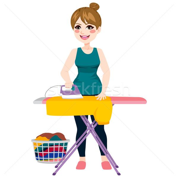Woman Ironing Shirt Stock photo © Kakigori