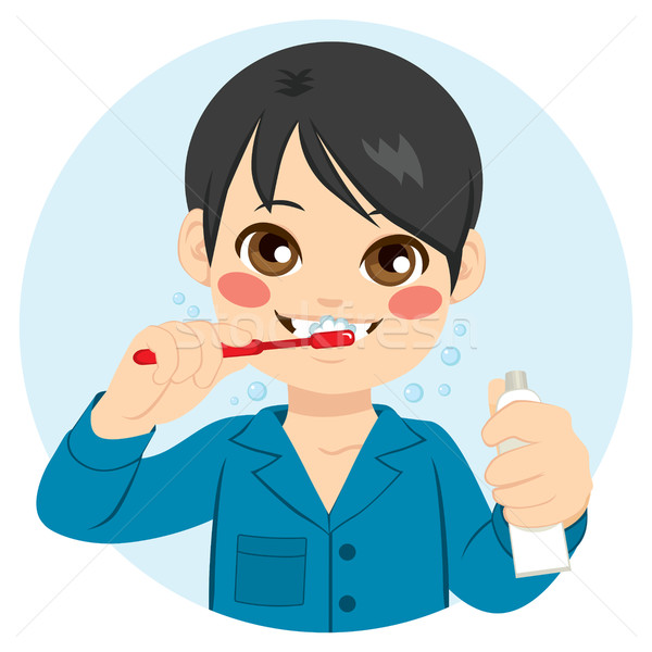 Boy Brushing His Teeth Stock photo © Kakigori