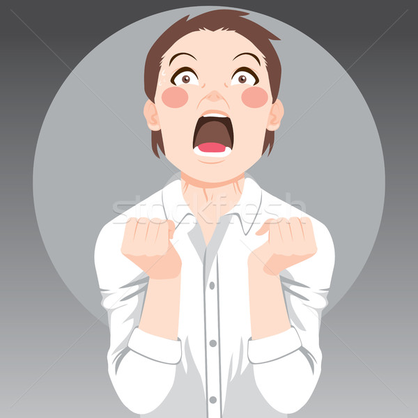Desesperado pessoa gritando zangado cinza Foto stock © Kakigori