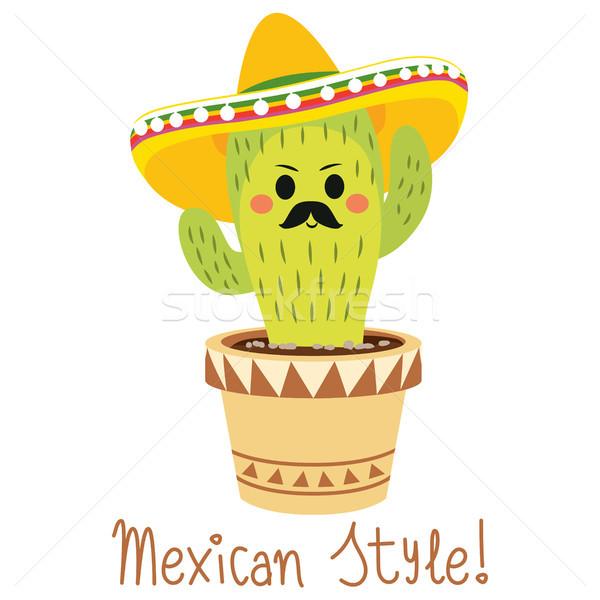 Vicces mexikói kaktusz aranyos karakter kalap Stock fotó © Kakigori
