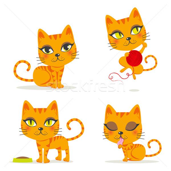Narancs macska aranyos játszik egyéb tevékenységek Stock fotó © Kakigori