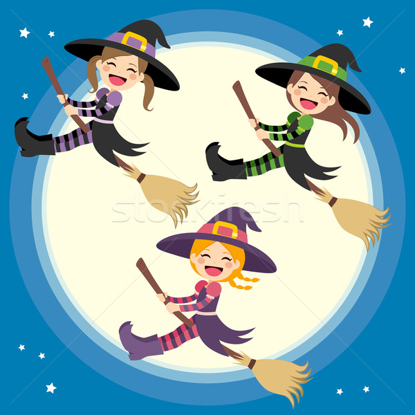 Stock photo: Cute Witches Group Flying