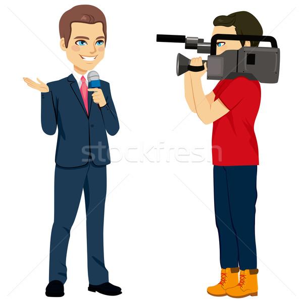 Cameraman And Reporter Stock photo © Kakigori