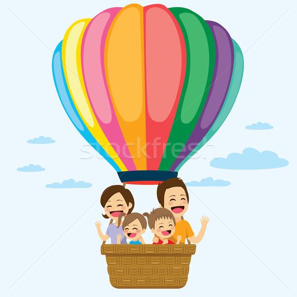 Rodziny balonem szczęśliwą rodzinę jazda konna kolorowy wraz Zdjęcia stock © Kakigori