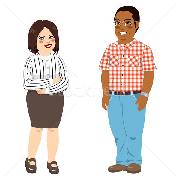 太り過ぎ 人 白人 女性 アフリカ系アメリカ人 男 ストックフォト © Kakigori