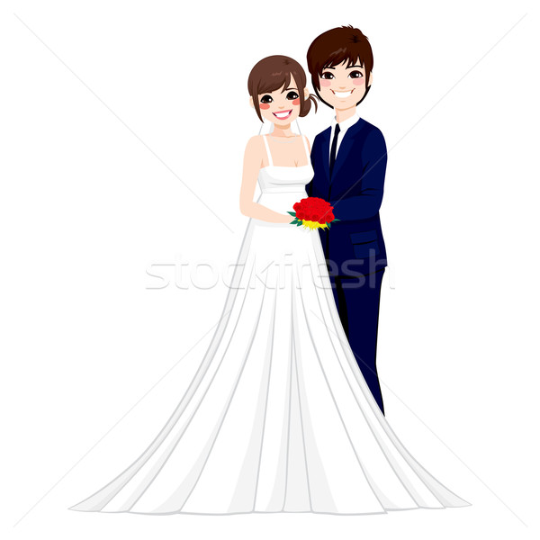 Asian Wedding Couple Posing Stock photo © Kakigori